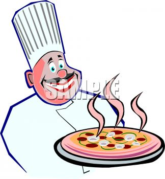 Royalty Free Clip Art Image  Round Faced Italian Chef Holding A Pizza