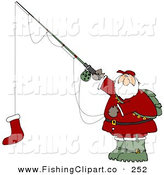 Santa Holding A Red Christmas Stocking On A Fishing Pole Hook By