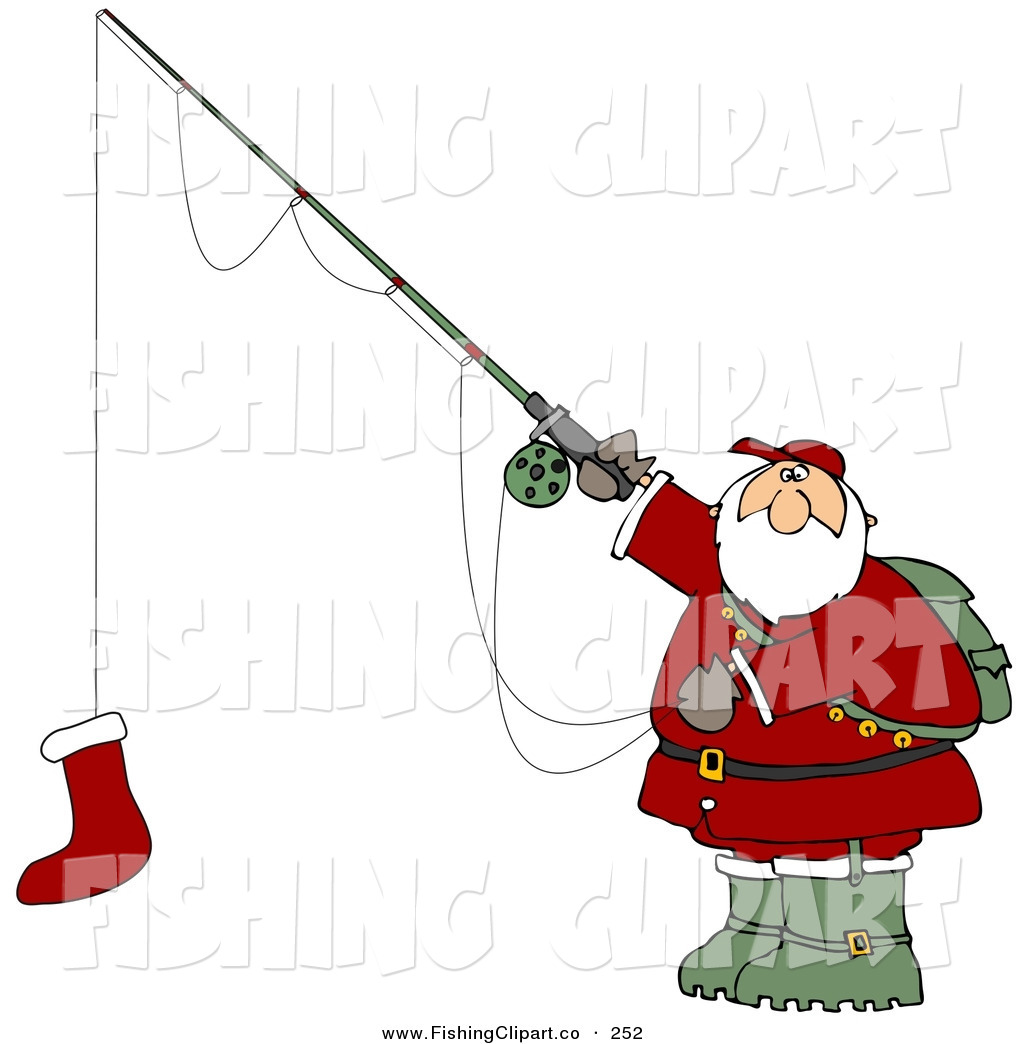 Santa Holding A Red Christmas Stocking On A Fishing Pole Hook Santa