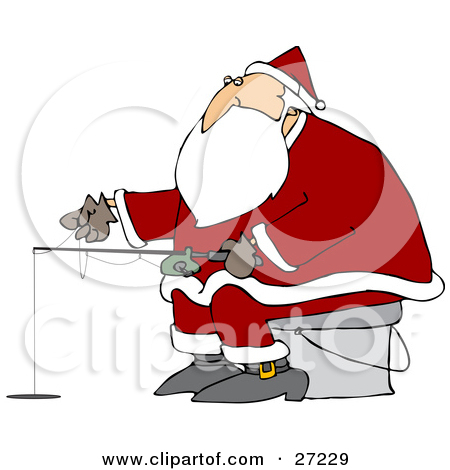 Santa Sitting On A Pail And Ice Fishing On A Frozen Lake By Dennis Cox