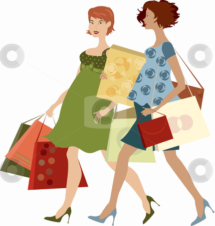 Shopping Women Stock Vector Clipart Two Pregnant Ladies Shopping By