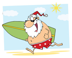 Surfer Clipart Image   Santa Takes A Breal After Christmas And Goes