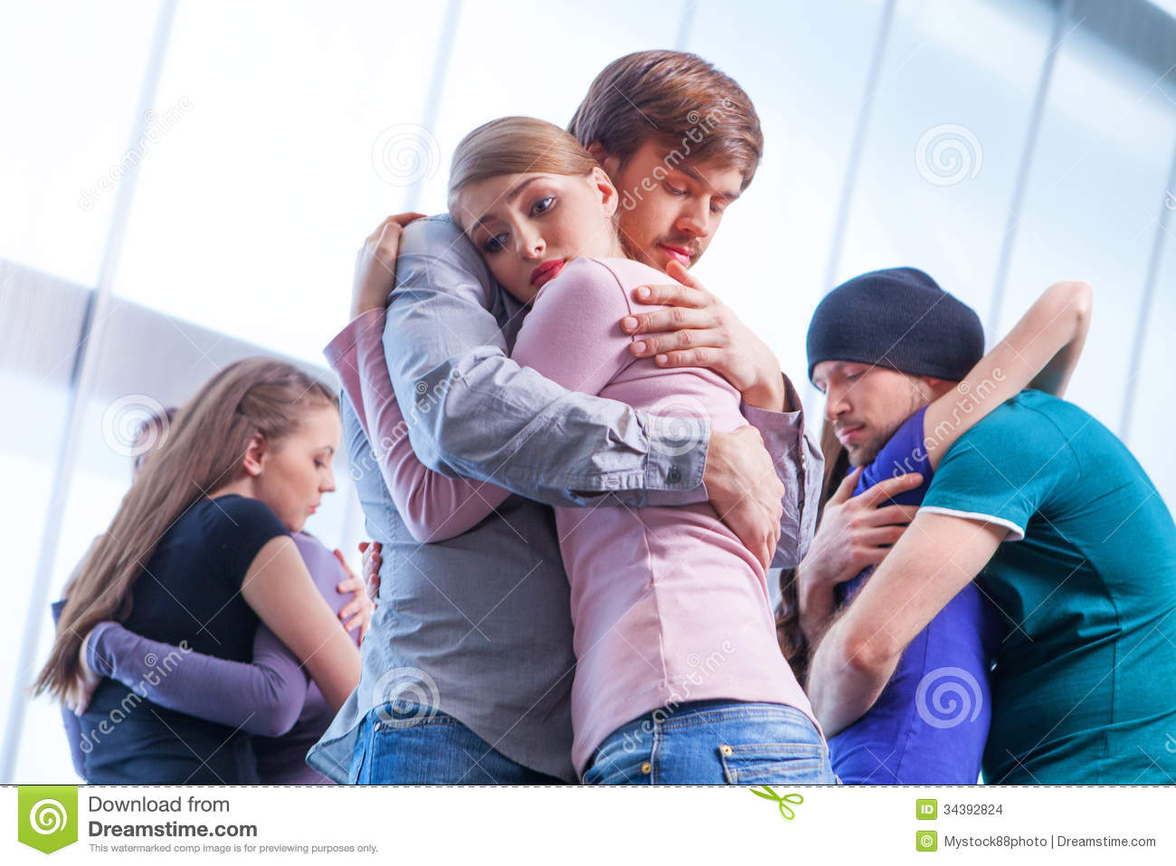 Three Pair Of People Hugging Each Other  Stock Images   Image
