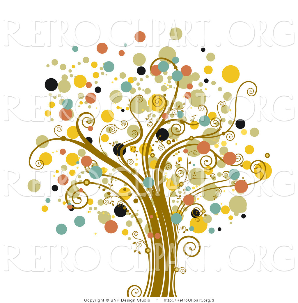 Vector Retro Clipart Of A Tree Of Dots By Bnp Design Studio    3