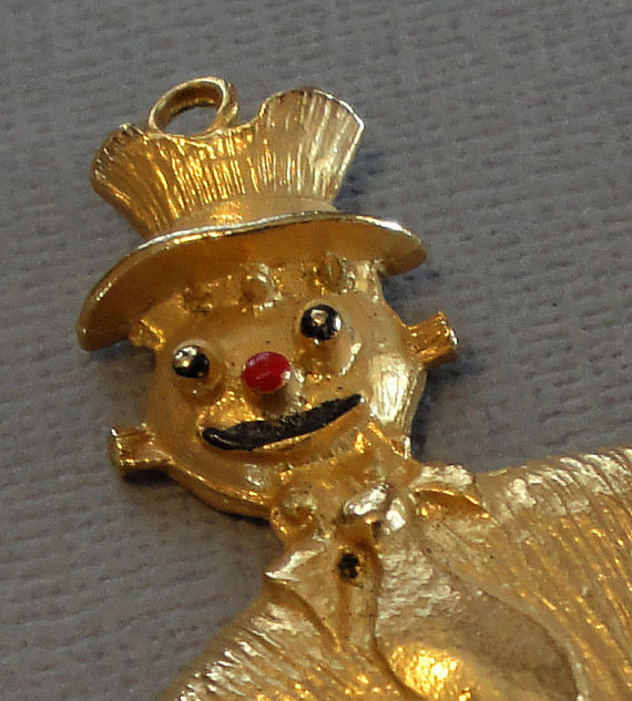 Vintage Scarecrow Clown Pendant With Articulated Joints Gold Metal