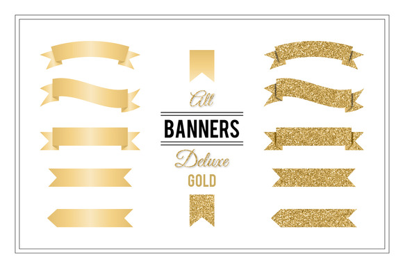 Banners Deluxe   Gold   Objects On Creative Market