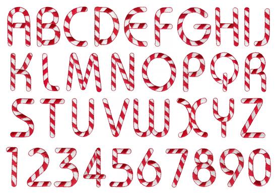 Candyland Font Alphabet Cane Letters Printables - Clipart Kid