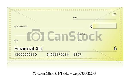 Clip Art Vector Of Financial Aid Check Illustration Design Csp7000556
