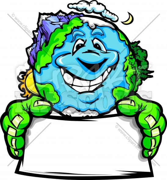 Environmental Clipart Graphic Vector Cartoon Of Planet Earth With Sign