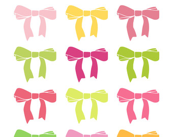 Pretty Ribbon Bows    Hand Drawn Cl Ip Art    Instant Download    Pink