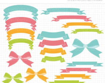 Ribbons Bows Flags Clip Art   Digital Clipart   Instant Download
