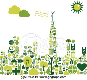 Silhouette With Environmental Icons  Eps Clipart Gg59393119   Gograph