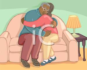 Sitting On A Sofa Hugging Each Other   Royalty Free Clipart Picture