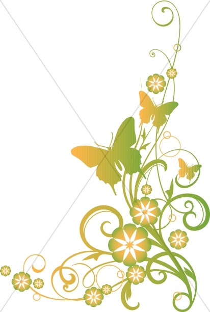 Vines And Butterflies Christian Clipart
