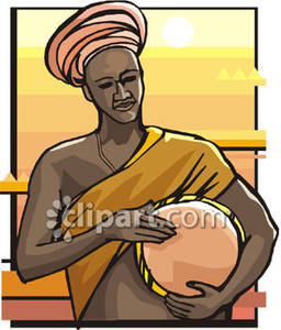African Man With A Drum   Royalty Free Clipart Picture