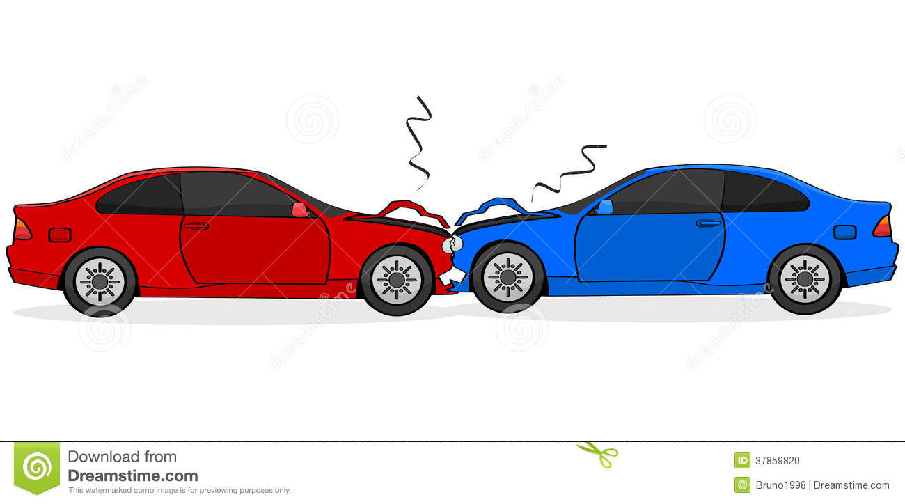 Cartoon Illustration Showing Two Cars After A Head On Collision