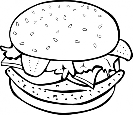Chicken Burger  B And W  Clip Art Free Vector   Animals Vectors