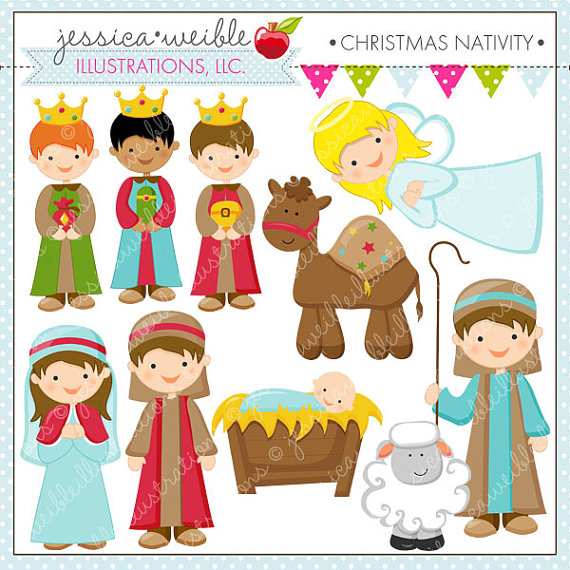 Christmas Nativity Cute Christmas Digital Clipart For Commercial Or