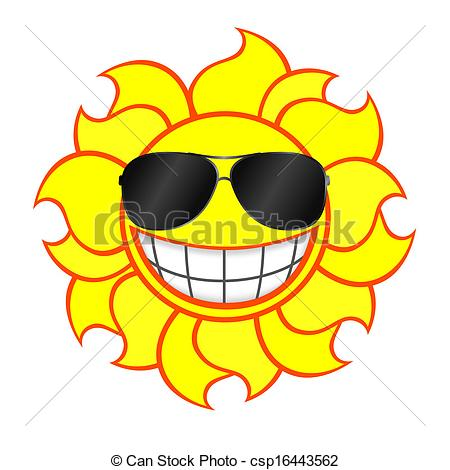 Clip Art Vector Of Smiling Sun Wearing Sunglasses   Cheerful Smiling