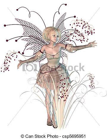 Clipart Of Winter Berries Fairy   Winter Fairy With Bright Red Berries