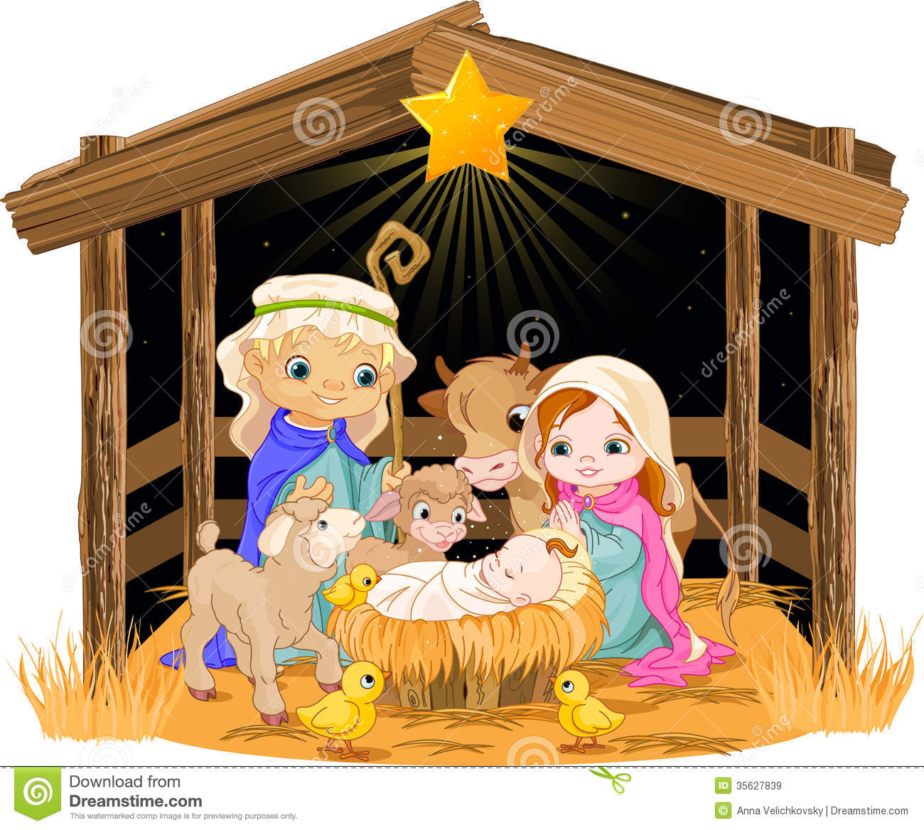 Cute Nativity Clipart Christmas Nativity Scene With