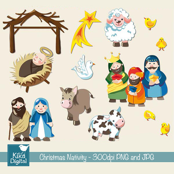 Cute Nativity Clipart Nativity   Digital Clipart
