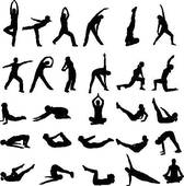 Girl Exercising Silhouettes   Clipart Graphic