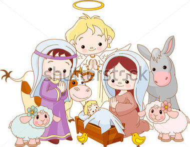 Nativity Scene With Holy Family And Angel Stock Vector   Clipart Me