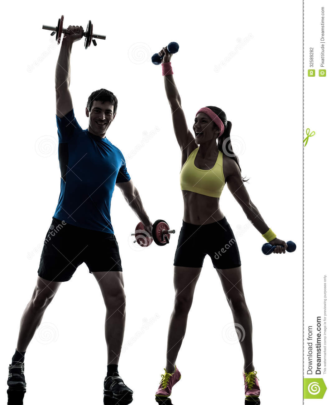 One Women Exercising Fitness Workout With Men Coach In Silhouette On