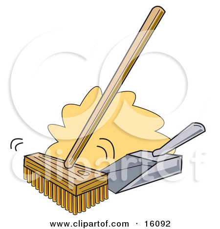 Push Broom And Dustpan Clipart Illustration By Andy Nortnik