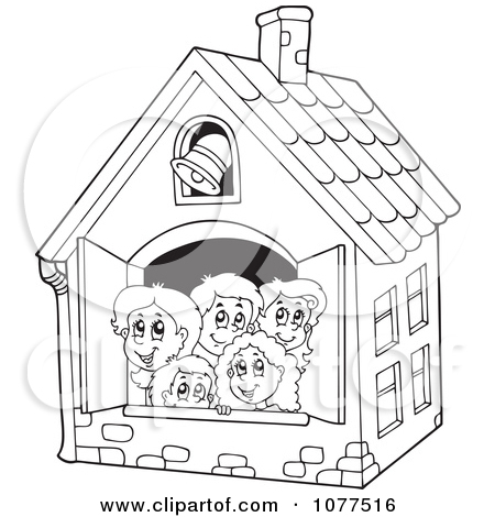 Schoolhouse Clipart Outline Clipart Outlined Children In A