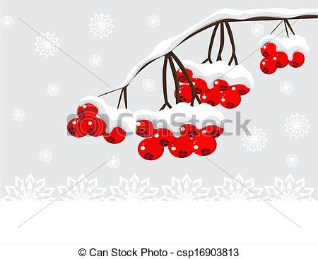 Vector Clip Art Of Winter Background With Red Berries And Snow