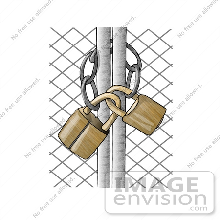 Wire Gate Locked And Secured With Golden Padlocks Clipart    17825 By