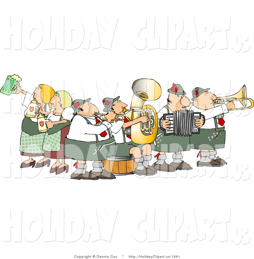 Clip Art Of A Group Of German People Celebrating Oktoberfest With Live