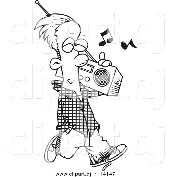 Vector Of Cartoon Man Carrying A Boom Box   Coloring Page Outline By