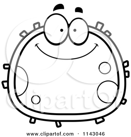 Cartoon Clipart Of A Black And White Clipart Smiling Blood Cell