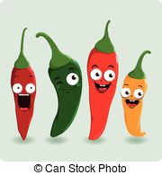 Cartoon Hot Chili Peppers   Fresh Colorful Cartoon Hot Chili