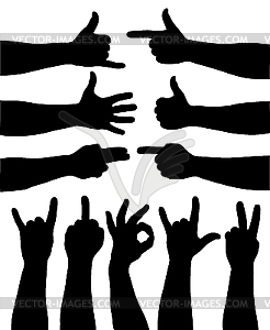 Hand Gestures   White   Black Vector Clipart