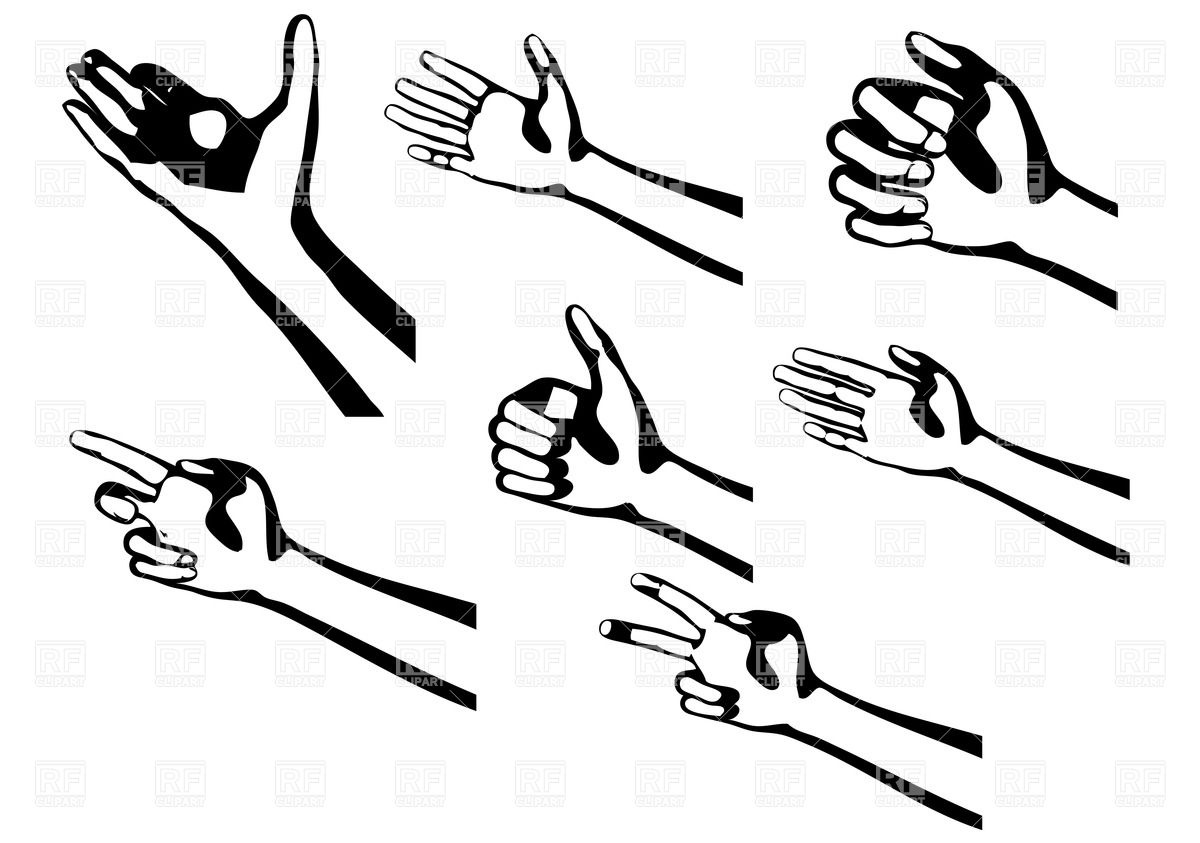 Silhouette Of Hand Gestures Isolated On A White Background Download