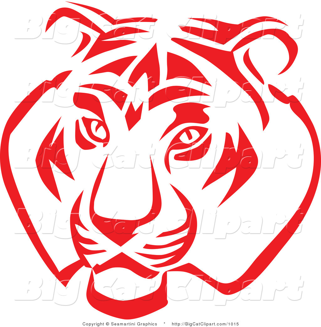 Big Cat Vector Clipart Of A Red And White Tiger Face By Seamartini