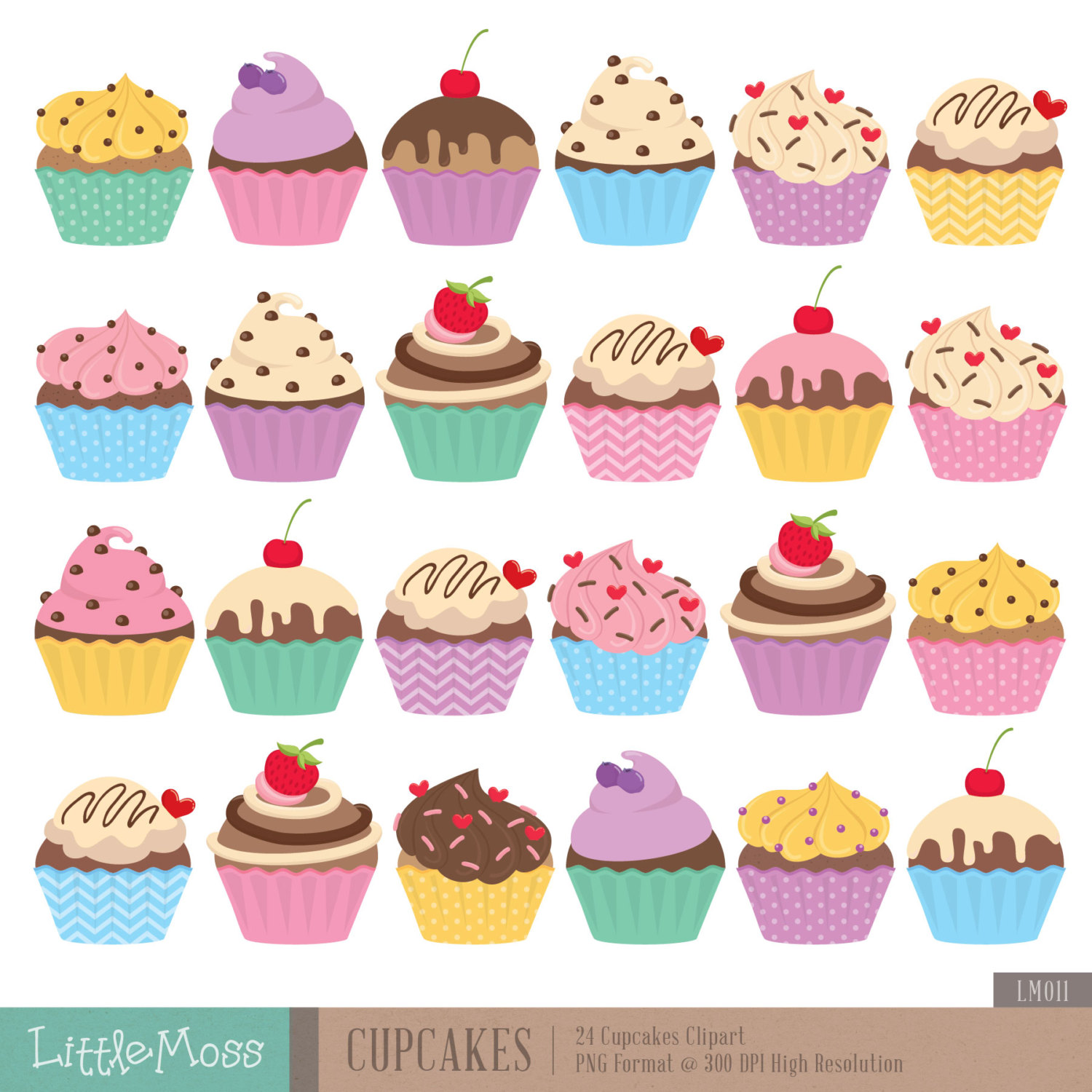 Cupcakes Digital Clipart By Littlemoss On Etsy
