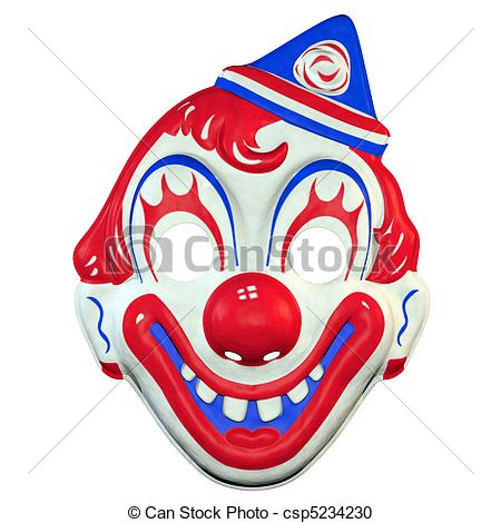 Illustration Of Clown Mask   A Vintage 70u2019s Era Halloween Clown