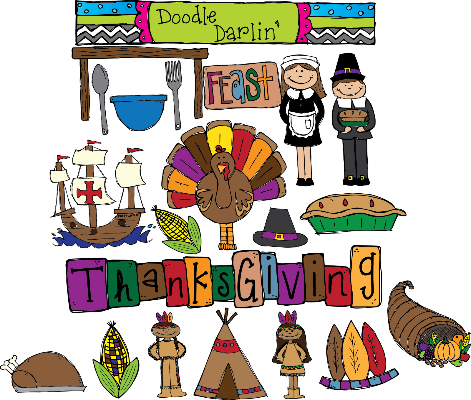 Khronicles  Thanksgiving Unit And New Doodle Darlin  Clipart