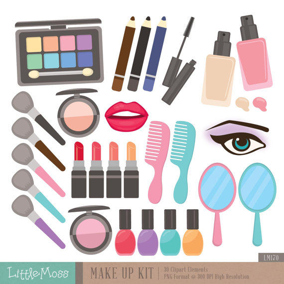 Make Up Kit Digital Clipart Cosmetic Clipart By Littlemoss On Etsy