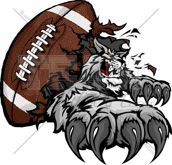 Wildcat Football Cartoon Mascot With Claws Tearing Out Of A Football