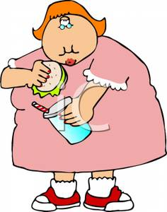 An Overweight Woman Eating Fast Food   Royalty Free Clipart Picture
