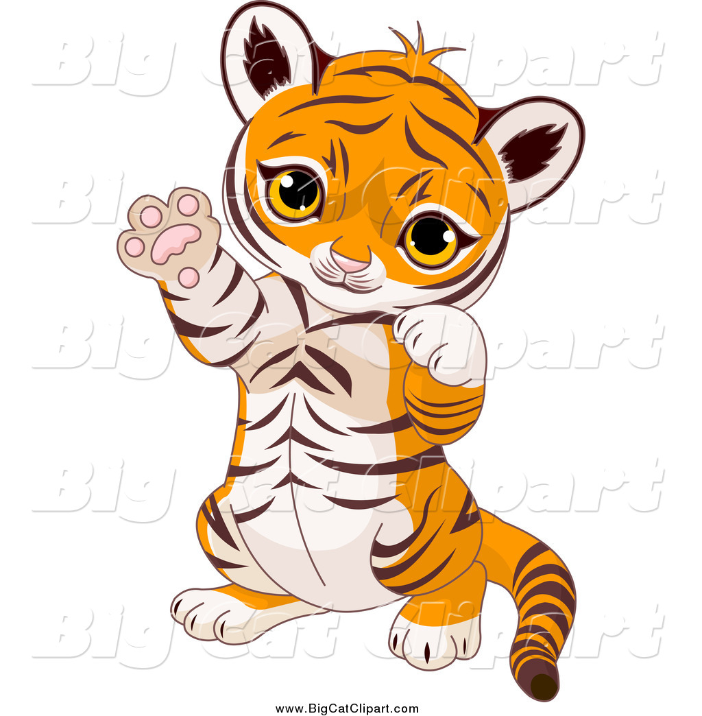 Big Cat Cartoon Vector Clipart Of A Cute Baby Tiger Cub Sitting Up And