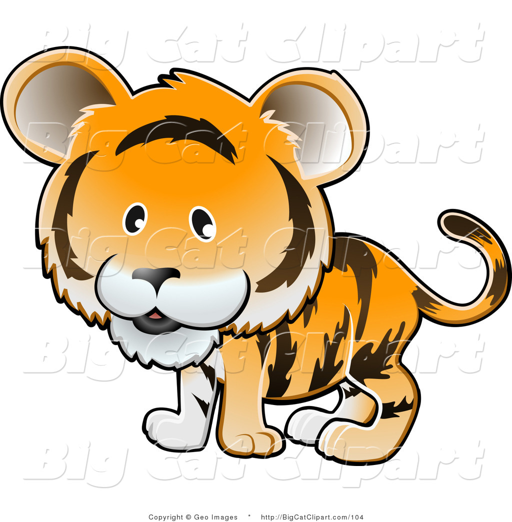 Big Cat Clipart Of A Cute Orange Tiger With Black Stripes By Geo