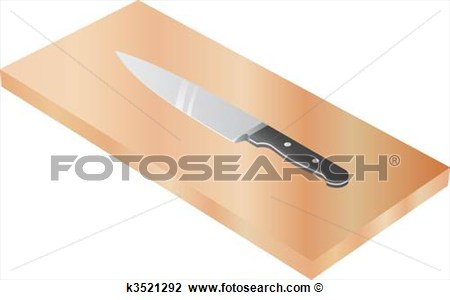 Chef S Knife On Wood Cutting Board View Large Clip Art Graphic