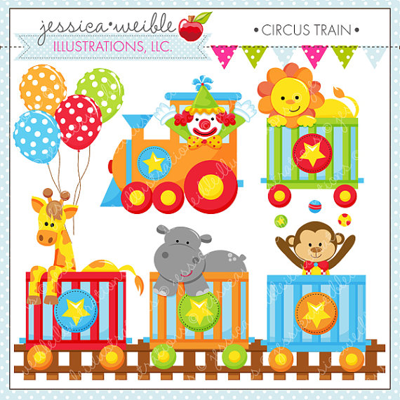 Circus Train Cute Digital Clipart For Commercial Or Personal Use